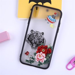 Wholesale painted tiger - Fashion tiger and rose flower UFO painted translucent Hard Phone Case For iPhone 5 5s se 6 6S 6plus 7 7plus 8 8s plus X Company customized