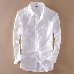 933f2351c7840d9 мужские белые рубашки на пляже Скидка Элегантный мужской длинный рукав  льняная рубашка Slim Fit отложным воротником
