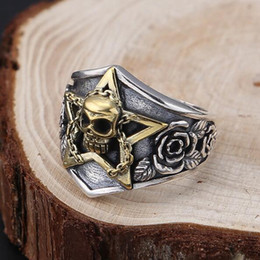 anelli tailandesi Sconti Thai 925 Good Luck scheletro Anello 100% Sterling Silver Skull Rose Thai 925