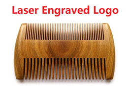 Wholesale Handmade Brushes - Top quality! Natural Sandalwood Pocket Beard & Hair Combs for Men Laser Engraved Logo Handmade Natural Wood Comb with Dense and Sparse Tooth