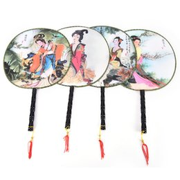 Wholesale Birthday Room Decorations - Stage Perform Props Elegant Vintage Dancing Fan Chinese Traditional Round Polyester Palace Hand Fan Home Room Decoration Gift