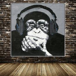 Grandes murais de parede florais on-line-100% sem moldura grande parede mural imagem decoração moderna arte animal engraçado macaco ouvir música pintura a óleo sobre tela
