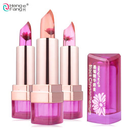 chrysanthemum lipstick Promo Codes - 3 Fruit Flavors Black Chrysanthemum Lipstick Temperature changed Lip Moisturizer Lips 3.5g Makeup Brand HengFang #H9266