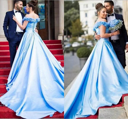 Wholesale simple wedding dress muslim woman - Arabic Middle East Wedding Dresses Women Colored Sky Blue Off The Shoulder Flowers Long A Line Court Train Bridal Gowns