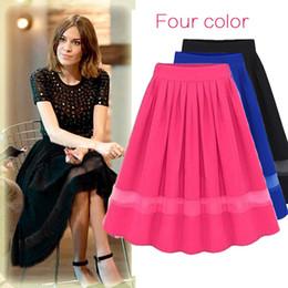 Faldas plisadas de cintura alta mujeres gasa tul midi faldas hasta la  rodilla moda verano negro faldas ocasionales faldas saia af6b912585f5