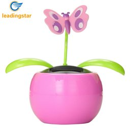 Wholesale Solar Swing Toys - Wholesale- LeadingStar Automobile Decoration Solar Power Automatic Swing Apple Flowerpot Moving Dancing Butterfly Car Toy zk25
