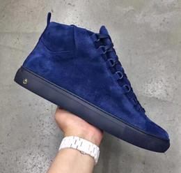 Vente chaude Pas Cher Vente De Haute Qualité Marque Arena Chaussures Bleu Daim Haute Haut Chaussures Sneaker, Chaussures De Luxe En Daim Pour Hommes ? partir de fabricateur