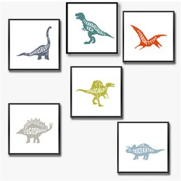 Dinozor Dekor Tuval Boyama Çocuk Odası Duvar Sanatı Resim, dinozor Tuval Baskı ve Posteri Çocuk Kreş Sanat Süslemeleri cheap dinosaur nursery decor nereden dinozor kreş dekor tedarikçiler