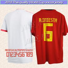 Wholesale Custom Soccer Jerseys Uniforms - 2018 World Cup Spain Home away Uniform custom PIQUE Soccer Jersey shirt ISCO 20 ASENSIO 15 RAMOS Football MORATA SILVA 6 INIESTA Saùl Thiago