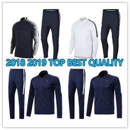 Wholesale France Soccer Jacket - BEST QUALITY POGBA GRIEZMANN Mbappe KANTE Jacket blue Soccer france Jacket training suits 2018 2019 white football shirts Maillot de foot