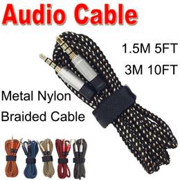 усилитель громкоговорителей для компьютера Скидка 3.5 мм вспомогательный удлинитель аудио кабель непрерывной металлической ткани плетеный мужской стерео шнур 1.5M3M для IPHONE Samsung MP3 спикер планшетный ПК XAC-1