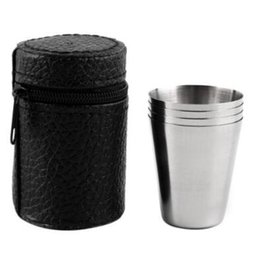 Wholesale tea cup portable - Portable 4pcs set Stainless Steel 30ml 70ml 180ml Camping Cup Mug Red Wine White Spirit Liqueur Drinking Coffee Tea With Case CCA9216 200set
