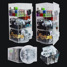 Wholesale Clear Acrylic Display Boxes Wholesale - 6in1 acrylic display box phone accessories whole clear with lock and revolving for usb cable usb charger earphones