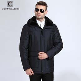 Wholesale Men Mink Fur Collar - CITY CLASS New Men Thick Warm Winter Jackets Slim Fit Long Camels Hairs Removable Mink Collar Hooded Coats Free Shipping 15908
