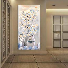 grande pittura moderna astratta di fiore Sconti Modern Abstract Bloom Prugna Fiori Pittura ad olio su tela Poster cervi bianchi Poster da parete Grande HD stampato immagini decorative Imposta