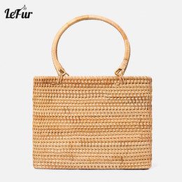 9befc1b42 LEFUR New Rattan Side Bag 2018 Fashion Boutique Autumn Cane Hand-woven  Handbag Square Rattan Handbags Messenger Bag discount cane bags