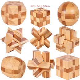 Wholesale Kids Brain Games Toy - IQ Brain Teaser Kong Ming Lock 3D Wooden Interlocking Burr Puzzles Game Toy For Adults Kids OOA3961