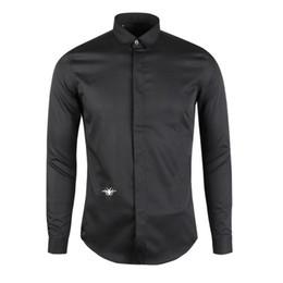 2018 Nova Chegada Dos Homens Camisa Casual Slim Fit Homens Abelha Projeto Camisa de Alta Qualidade Camisa Masculina Chemise Homme Camisa Dos Homens 2XL 3XL de Fornecedores de homens botão para baixo colarinho camisas preto