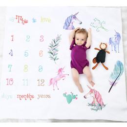 Foto do bebê do amor on-line-Cobertor De Bebê Unicórnio Fotografia Recém-nascido Mat Números Isto é Amor Fotos Acessórios 2018 Lovely Boutique store supplies