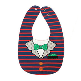 Wholesale Striped Cotton Scarves - WOTT Best Sale Button red and blue striped lattice bow tie double-sided cartoon button buckle baby bracelet baby mouth scarf c
