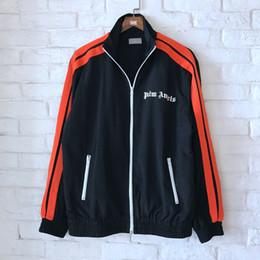 La mejor versión de moda PA Logo impreso lado rayada Logo Print Las mujeres de los hombres raquetas Chaquetas Hiphop hombres Zip Up Jacket Coat M-XL desde fabricantes