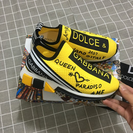 HOT Marque Hommes Graffiti Imprimé Tissu Sorrento Slip-on Sneaker Designer Femmes Deux-Caoutchouc En Caoutchouc Micro Sole Casual Chaussures DHL Chaussures Gratuites ? partir de fabricateur