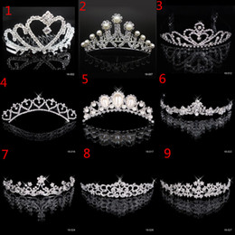 Wholesale princess party plates - In Stock Free Shipping Rhinestone Crystal Wedding Party Prom Homecoming Crowns Band Princess Bridal Tiaras Hair Accessories Fashion