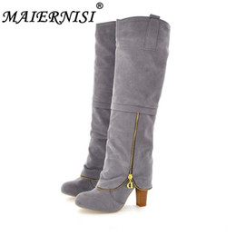 snow boots long high Coupons - Flock Fashion Women Winter Boots Shoes New Long Boots For Women Big Size Snow Round Toe Square heel High Shoes size 34-43