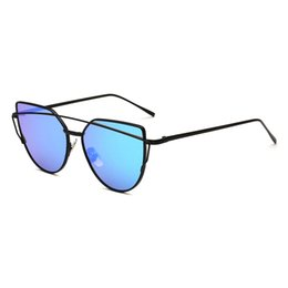 58b44a32eb gray cat eye sunglasses Promo Codes - 2018 vintage Brand designer Gray Blue  mirror Sunglasses For