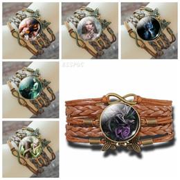 фиолетовый плетеный кожаный браслет Скидка Дракон и женщины кожаный браслет кабошон стекло фиолетовый Роза Дракон многослойные Плетеный браслет Бесконечности браслет женская мода