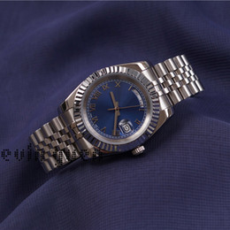 Wholesale Parker Top - Day Date Luxury Watches Mens AAA Top Quality Sapphire PRESIDENT Automatic Watch Blue Dial Silm Parker Runaway Men's Watch Gift
