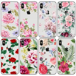 Wholesale romantic iphone cases - Phone Cases For iphone X 6S 7 8 Plus 5S Samsung Galaxy S8 S9 Plus Note 8 case Cartoon Romantic Rose Flower Soft TPU painted Back cover shell