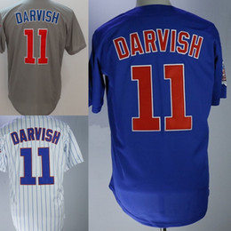 Wholesale Pinstripe Shirts - 2018 Mens hicago 11 Yu Darvish Baseball Jerseys Cheap Stitched Blue Gray White Pinstripe Cool Base Flex Base Shirts Mix Order