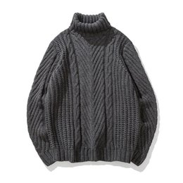 Wholesale Korean Wool Clothes - 2018 spring Japanese-style retro men's high-neck sweater winter Korean tide students loose line clothing thick Free shipping