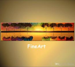 Pinturas de arte de la vida del árbol online-Gran pared, arte moderno, pinturas de árboles, paisajes, vida hermosa, pintura al óleo brillante lienzo arte de la pared decoración del hogar