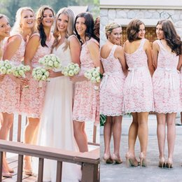 Wholesale Junior Bridesmaid Sash - Lovely Pink Short Bridesmaid Dresses for Juniors A Line Knee Length Lace Appliques with Sash Junior Maid of Honor Gowns Homecoming Dress