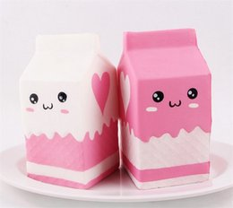 Wholesale kawaii gift box - Two styles Kawaii Cartoon Soft Squishy Charms Milk box Toy Slow Rising for Children Adults Relieves Stress Anxiety Fun Toy Gift