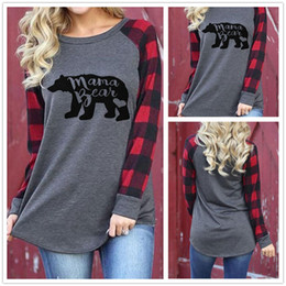 Wholesale Plaid Shirts Short Sleeve - Womens Casual Plaid Long Sleeve Mama Bear Print Round Neck Shirt Tops Blouse Letter Printed Tees 10pcs OOA4147