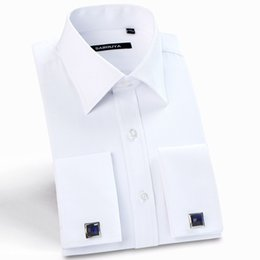 Wholesale Dress Shirts Cufflinks - Mens French Cuff Long Sleeve Regular Fit Twill Solid Dress Shirt with Cufflinks Free of Charge Formal Wedding Male Tuxedo Shirts