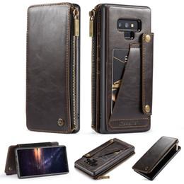 CaseMe Ayrılabilir Deri cüzdan kılıf Için Galaxy Note 9 ile fermuar yuvaları + Kredi Kartı Yuvaları Case Arka Samsung Galaxy Not 9 supplier galaxy note detachable case nereden galaxy note çıkarılabilir kutu tedarikçiler