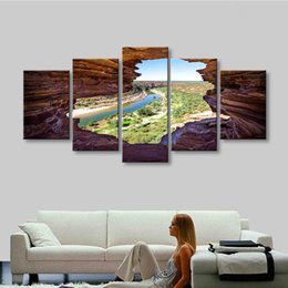 Wholesale River Digital - 5 pieces high-definition print nature river rock canvas oil painting poster and wall art living room picture PL5-224