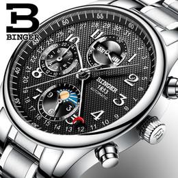 a05c849b22f 2017 NEW BINGER relógio dos homens marca de luxo Múltiplas funções Fase da  Lua de safira Calendário Mecânica Relógios De Pulso B-603-8 2
