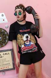 Wholesale Quality Puppy - 2018 fashion top A quality women's ladies females punk DJ night club diamonds Puppy short-sleeved crew neck short tee shirts free ship