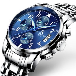 Wholesale delicate watches - Luxury Brand Mens Watches Luminous Waterproof Calendar Quartz Wristwatch Delicate Stainless Steel Fashion Business Real Men Watch Wholesale