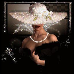 foto di fiori rosa neri Sconti Pittura diamante fai da te kit punto croce strass pieno diamante rotondo ricamo cartoon sexy signora decorazione mosaico casa yx4030