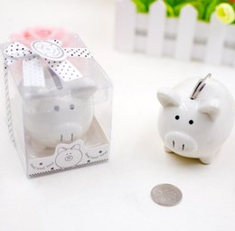 Wholesale Christening Boxes Wholesale - DHL Ceramic Mini Piggy Bank in Gift Box with Polka-Dot Bow Coin Box for Baby Shower Party Favors Christening Gifts