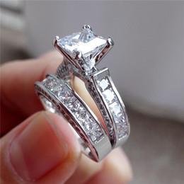 Argentina Marca nueva joyería de piedras preciosas naturales genuinos 925 blanco zafiro Birthstone plateado anillo de compromiso de boda conjunto Suministro