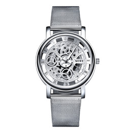 Wholesale Out Gear - relogio masculino luxury brand Dress watches men Fashion Steel Strip hollow out Mechanical Gear Gold Business clock men horloges mannen gift
