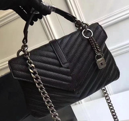 Wholesale Chain Designs For Women - Free Shipping 24CM Fashion Brand design genuine Leather Bag Large Shopping Tote with Gold Hardware for women