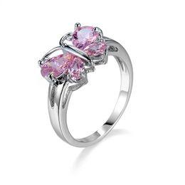 Moda farfalla zaffiro online-Fashion Ring Size 6/7/8/9/10 Butterfly Pink Sapphire Cubic Zirconia Gioielli da donna in oro bianco placcato